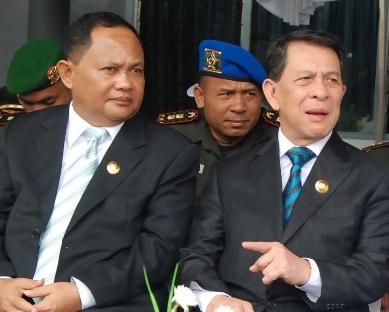 Gubernur dan Wagub Sulut, akrab bersama pangarmatim pada sertijab Danlantamal VIII Manado A